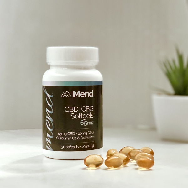 Mend CBD + CBG Gelcaps 65mg Curcumin